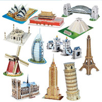 Wholesale architecture online - 3D Three Dimensional Puzzles Children Kid Toy DIY Assembling Splicing Cardboard Jigsaw Puzzle World Famous Architecture Model New jy V