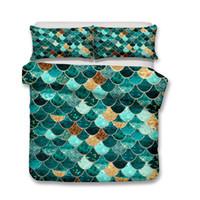 Wholesale quilts duvets online - D Fish scale Bedding Set Twin Full Queen King Size Pillow Case Quilt Cover Duvet Cover No Filler