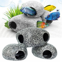 Wholesale fish terrarium online - Stone Hideaway Aquarium Decorations Rock Hideout Small Decor For Fish Tank or Mini Bowl Best for Turtle Terrarium Betta Fish Accessories