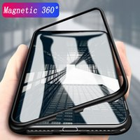 Wholesale metal phone cases online - Magnetic Adsorption Metal Phone Case for iP Xr Xs Max X Plus Full Coverage Aluminum Alloy Frame with Tempered Glass Back Cover
