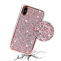 Wholesale glitter case online - Premium bling in Luxury diamond rhinestone glitter back cover phone case For iPhone X s plus Samsung s8 note cases Samsung S9