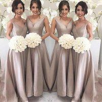 Wholesale party wedding floor long bridesmaid dresses for sale - Simple Elegant Bridesmaid Dresses A Line Sleeveless V Neck Floor Length Sweep Train Garden Wedding Guest Party Gowns Under