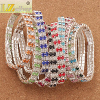 Wholesale tennis bracelets online - 20pcs Crystal Bracelet sizes Red Spring Silver Plated Rows Rhinestone Bracelets Tennis Fashion Jewelry stones stones stones
