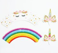 Wholesale christmas toys online - 24pcs set Toppers Cartoon Rainbow Unicorn Cupcake Cake Baking Cup Wrappers Wedding Birthday Party Decorations Christmas Toy GGA662 sets