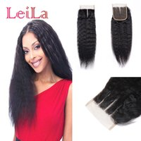 Wholesale pc 25 online - Brazilian Virgin Hair Kinky Straight X Lace Closure Human Mink Hair Closures Middle Free Three Part g