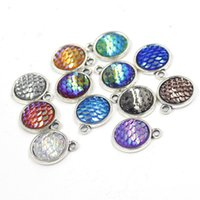 Wholesale 12MM Colorful Round Fashion Ancient Silver Pendant Charms For Bracelet Necklace DIY Making Jewelry Supplies