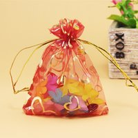 Wholesale 9 cm transparent gauze bag colors candy bags gilded peach heart bag for small items drop shipping