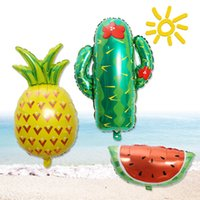 Wholesale balloon decorations for sale - Cute Fruit Aluminum Foil Balloon Watermelon Strawberry Pineapple Cactus Toy Birthday Party Supplies Supermarket Mall Decoration NNA463