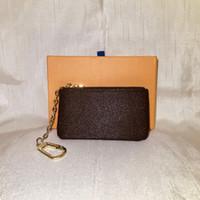 Wholesale M62650 Luxury Designer Women s Key Wallet Key Pouch Bag Charm France Famous Mono Gram Canvas Brown White Checkered Key Ring