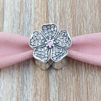 Wholesale apple pandora charms for sale - Authentic Sterling Silver Beads Sparkling Apple Blossom Charm Fits European Pandora Style Jewelry Bracelets Necklace NBP