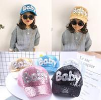 Wholesale design ball cap online - New design kids baby sequins cap adult children sun hat summer net baseball cap glitter sparkling shiny hats adjustable cap