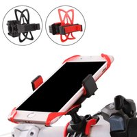 Wholesale bike band phone holder online - Universal Bike Bicycle Motorcycle Handlebar Mount Holder Phone Holder With Silicone Support Band For Iphone X plus Samsung s7 s8 edge