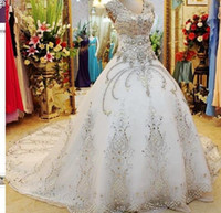 Wholesale maternity court wedding dress for sale - Luxurious White Crystal Ball Gown Wedding Dresses Court Train Foraml Sparkling Bridal Gowns with Beadings