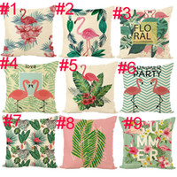 Wholesale tree cars for sale - Flamingo Pillow case size cm rainforest fashion animals and trees printed pillow cover flax office cushion cover car waist pillowcase