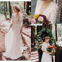 Wholesale bodice style tops online - Lace Chiffon Boho Wedding Dresses A line V Neck Short Sleeves Sheer Top A line Informal Beach Bridal Gowns Bohemian Style Custom Made