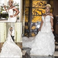 Wholesale sexy summer wedding dresses for sale - Plus Size Wedding Dresses With Beads Sequins Sweetheart Off Shoulder Ruffles African Mermaid Back Lace Up Custom Made Bridal Gowns BA9905