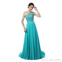 Wholesale red flowing evening dress for sale - Real Image Sexy One Shoulder Ice Blue Evening Prom Dress Long A line Flowing Chiffon With Beading Women Prom Party Gowns