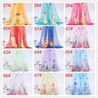 Wholesale chiffon scarves online - Fashion floral Beach scarf chiffon georgette silk scarf summer beach scarf Wrap Swhal cm
