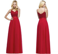 Wholesale red formal bridesmaids dresses online - Red Long Bridesmaid Dresses Spaghetti Straps Pearls Floor Length Formal Maid of the Honor Dresses robes de demoiselle d honneur CPS871