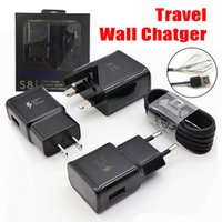 Wholesale usb adapter for fast charging online - 2 in Wall Charger Adapter Fast Charging Travel Wall Chargers M Micro USB Data Cable for Samsung Galaxy S7 S8 with Retail Package