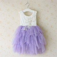 Wholesale cotton lace flower pearl online - NEW Girl clothes Princess Dresses Kids Boutique Lace Sleeveless Tutu dress Girl Elegant Flower with Pearl Decoration Ball Gown Wedding Dress
