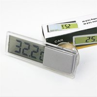 Wholesale car thermometers online - Transparent Liquid Crystal Display Thermometer Car Sucker Type Metal Thermograph Household Digital Thermometers High Quality sm X