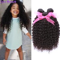 Wholesale good weft human hair online - 8 inch Curly Human Hair Bundles Unprocessed Indian Virgin Hair Kinky Curly Bundles Good Quality A Brazilian Hair Weave Natural Color