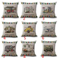 Wholesale Happy Campers Motor Home Pillow Case Cushion Cover Linen Cotton Throw Pillowcases Sofa Car Decorative Pillowcover Free DHL