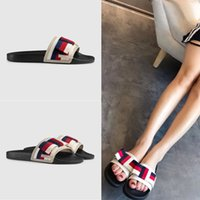 Wholesale 2018 New Arrival Fashion Brand Pursuit Satin Slide Sandals Summer Breathable Gladiator Sandal Luxury Shoe Men And Women Slipper