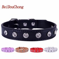 Wholesale bling pet dog online - Pu Leather Dog Collar One Row Bling Rhinestones Accessories Collar For Small Dogs Pet Puppy Dog Supplies