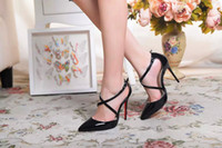 Wholesale women dress shoes online - Original Box classic black and Nude women Brand High Heels Patent Leather Pointy Toe Dress Shoes Luxury Shallow Mouth Red Sole Wedding Shoes