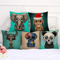 Wholesale twill linen online - New Creative Cute Small Elephant Glasses Cartoon Printing Pillow Case Bedroom Sofa Throw Pillowslip Cotton And Linen Cushion Cover my aa