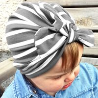Wholesale blue flowers for headbands online - Baby cute lovely Soft Knot Stripe Headband Rabbit Ears Sleeve Cap Indian Flower Hat Baby Hats for Baby Girls