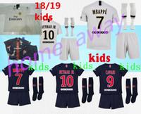 Wholesale 2018 Paris kids kit soccer Jerseys mbappe home away VERRATTI CAVANI DI MARIA MAILLOT DE FOOT child survetement psg kids kit