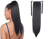 Wholesale ponytails online - 100 Natural Brazilian Remy Human hair Ponytail Horsetail Clips in on Human Hair Extension Straight Hair g
