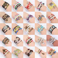 Wholesale infinity bracelets for sale - Exquisite styles DIY Infinity Charm Bracelets Alloy Leather Weave Braid Cord Strands Multilayer Jewelry as Gift