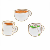 Wholesale china wholesalers green tea for sale - Miss Zoe Enamel pins Cups Green tea Coffee Tea Brooch Childhood Button Pin Denim Jacket Pin Badge Gift Creative Jewelry