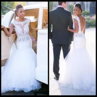 Wholesale bodice style tops for sale - Sexy Open Back Wedding Dresses Lace Top Cap Sleeves Mermaid Bridal Gowns Tulle Sweep Train African Style Garden Wedding Vestidos