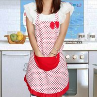 Wholesale New Cute Bib Apron Dress Vintage Kitchen Women Bowknot with Pocket Gift