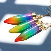 Wholesale female steel for sale - Natural Stone Pendant Horns Ethnic Style Wolf Tooth Seven Color Mixing Rainbow Colorful Necklace Female Hot Sale yg V