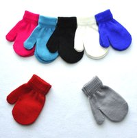 Wholesale children glove winter online - 2018 New style Fashion kids gloves Knitting Winter Warm Gloves Children Boys Girls Mittens Unisex Gloves Colors C1810251