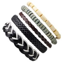 Wholesale bohemia multilayer bangles online - 5in1 SET BANGLE Beaded multilayer Brief style bracelet Travel Party leather handmade woven jewelry Bohemia style charm ornaments