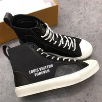Wholesale tennis shoes brand for sale - Luxury Brand Tattoo Sneaker Boot Cotton Monogram Canvas Mens High Top Sneakers Casual Womens Daily Tennis Board Skateboard Shoes with Box