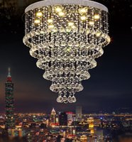 Wholesale 25 light staircase chandelier online - Modern lustre Crystal Chandelier Large K9 Crystal Ceiling Lighting Fixtures Hotel Projects Staircase Lamps Restaurant Cottage Lights