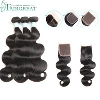 Wholesale body wave black weave hair online - Body Wave Bundles With Closure Brazilian Hair Weave Bundles With Closure Human Hair Bundles With Closure Fairgreat Hair Extensions