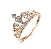 Wholesale solitaire rings for sale - Princess Crown Rings for women AAA cubic zirconia micro pave setting engagement wedding rings female Anel accessories