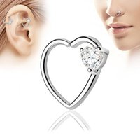 Wholesale body jewelry online - Heart Shaped Zicron Silver Plated Nose Rings Body Piercing Jewelry Designer Jewelry Open Hoop Earrings Studs Non Piercing Rings