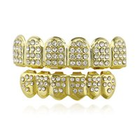 Wholesale Punk Hip hop Rhinestone Real Gold Plated Teeth Grills Top Bottom Teeth Caps Set For Girls Men Body jewelry