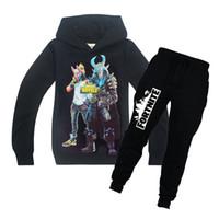 Wholesale boy sweatshirts online - Fortnite Game Tracksuit For Big Boy Set Clothes Fortnight Costume Kid Cotton Hooded Sweatshirt Trouser Suit Children Boutique Outfits