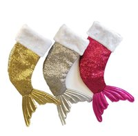 Wholesale christmas toys for sale - Christmas Mermaid Stocking Gift Wrap Bags Sequins Bling Bling Bead Flip Tail Socks Mermaid Tail Sock Christmas Decorations Toys OOA5815